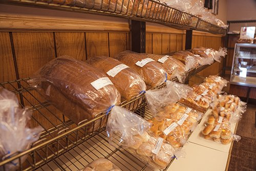 handmade bread on display daily in the shop