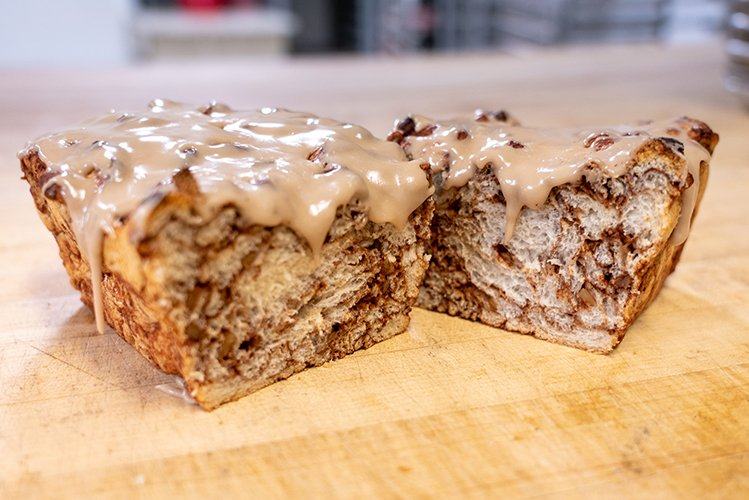 fresh hand-made coffee cake with drizzle over the top
